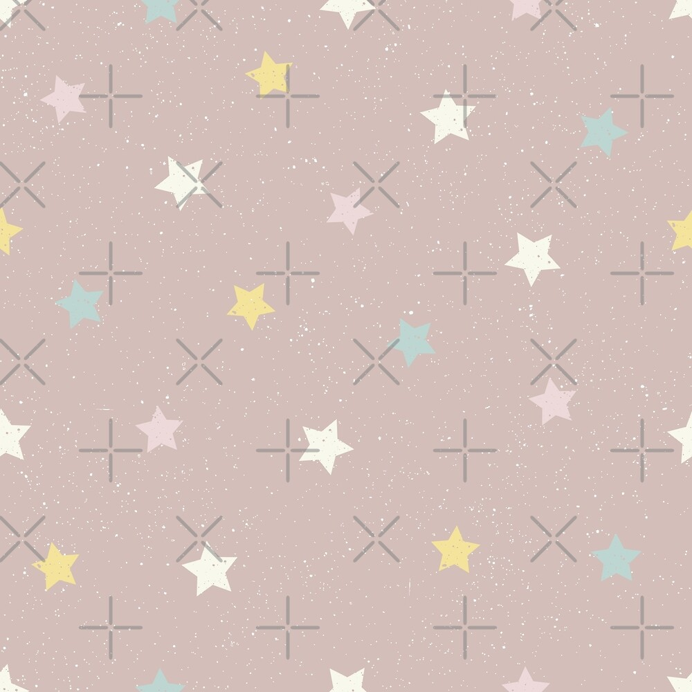 Stars in yellow, pink, white and blue on a pinky brown background by Sandra O'Connor