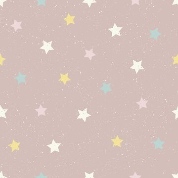 Stars in yellow, pink, white and blue on a pinky brown background by Mindreader