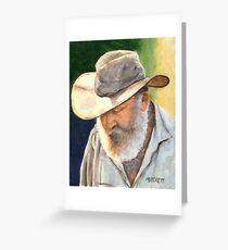 Old Man in Cowboy Hat Greeting Card