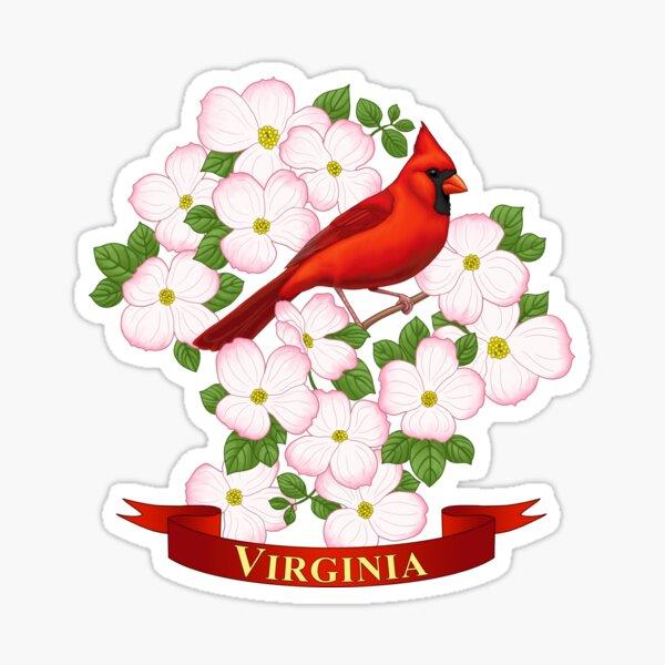 Virginia State Cardinal Bird and Dogwood Flower Sticker