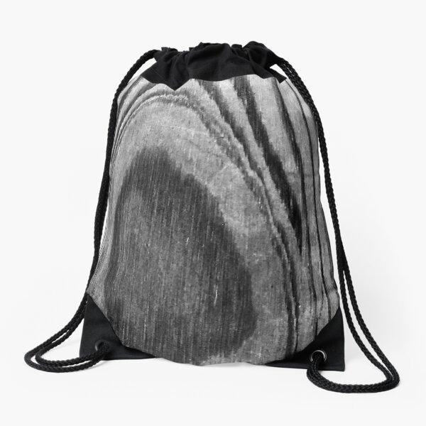 Contemporary Monochromatic Woodgrain Print Drawstring Bag