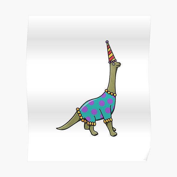 Derpy Party Brontosaurus Long Neck Dinosaur Poster