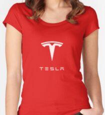 Tesla Logo Merchandise Women's Fitted Scoop T-Shirt