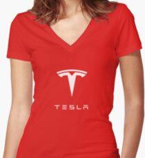 Tesla Logo Merchandise Women's Fitted V-Neck T-Shirt