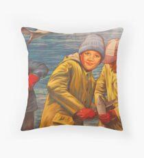 Maelstrom Mural - Kids Fishing Throw Pillow