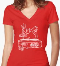 Flintstones Vinyl Record Dj Turntable Women's Fitted V-Neck T-Shirt