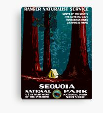 Vintage WPA Camping in Sequoia National Park Canvas Print