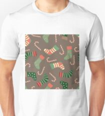 Christmas stockings and candy canes fun design  Unisex T-Shirt