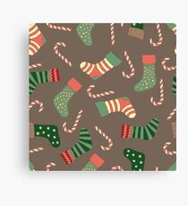 Christmas stockings and candy canes fun design  Canvas Print