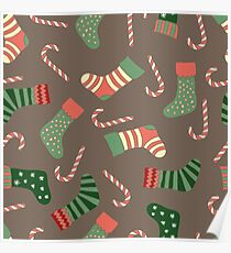 Christmas stockings and candy canes fun design  Poster