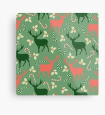 Deer and candy canes fun Christmas design  Metal Print