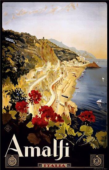 Vintage Amalfi Coast Italia Travel by pdgraphics