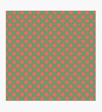 Fun Christmas red dots on green background pattern  Photographic Print