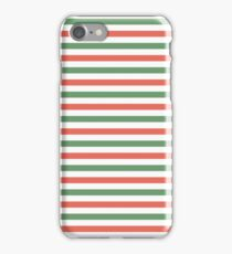 Red, green and white stripes, fun Christmas colours iPhone Case/Skin