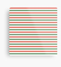 Red, green and white stripes, fun Christmas colours Metal Print
