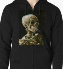 Sudadera con capucha y cremallera Vincent van Gogh Cabeza de un esqueleto con un cigarrillo encendido