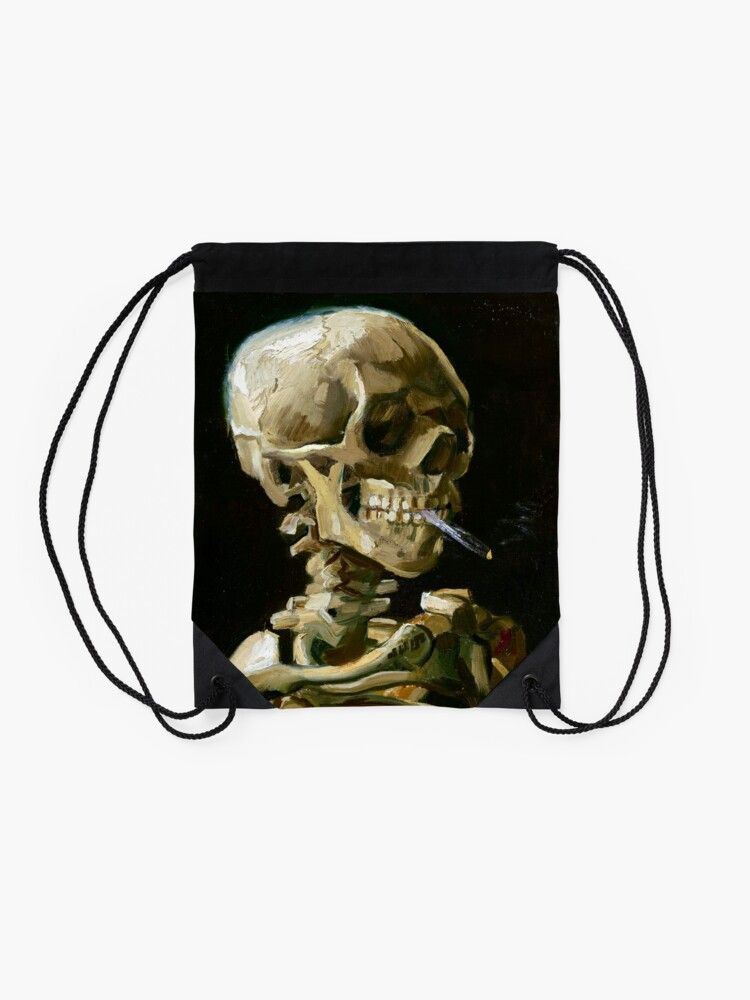 Alternate view of Vincent van Gogh Head of a Skeleton with a Burning Cigarette Drawstring Bag