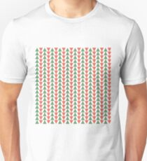 Red, green and white herring bone pattern in Christmas colours Unisex T-Shirt