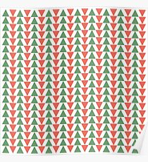 Red, green and white herring bone pattern in Christmas colours Poster