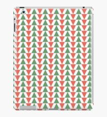 Red, green and white herring bone pattern in Christmas colours iPad Case/Skin