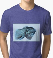 Colorful iguana watercolor painting Tri-blend T-Shirt
