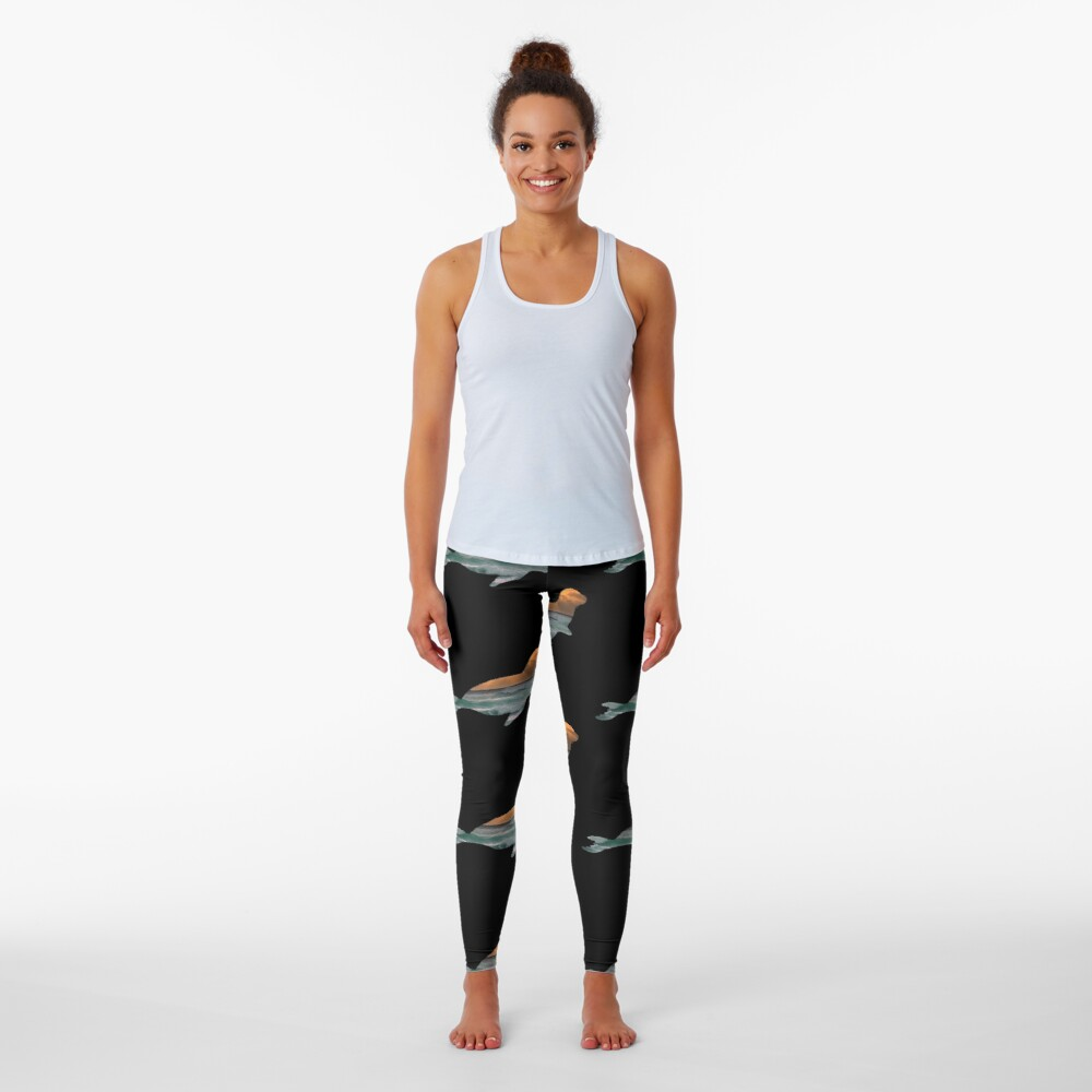 .Seal Sea Lion & Sunset Ocean Waves Silhouette   Leggings