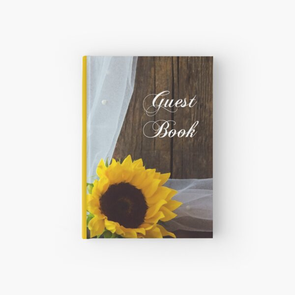 Rustic Sunflower and Barn Wood Country Wedding Guest Book Hardcover Journal