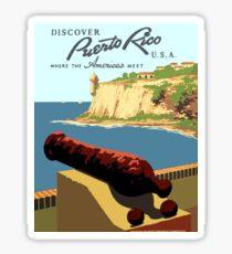 Vintage Discover Puerto Rico WPA Sticker