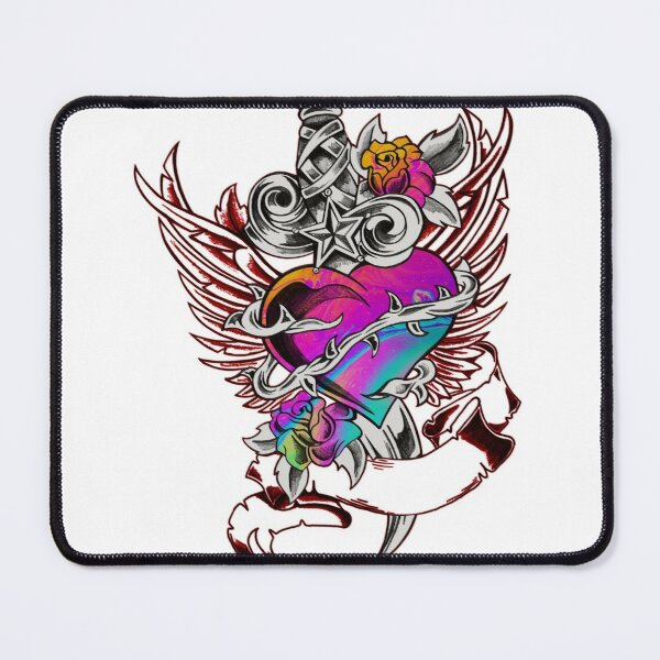 Heart Star Flower Abstract Graphic Mouse Pad