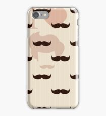 Vintage retro hipster mustache wallpaper iPhone Case/Skin