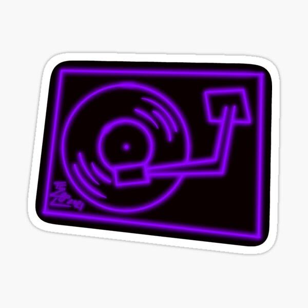 Purple Neon Glow Turntable Glossy Sticker