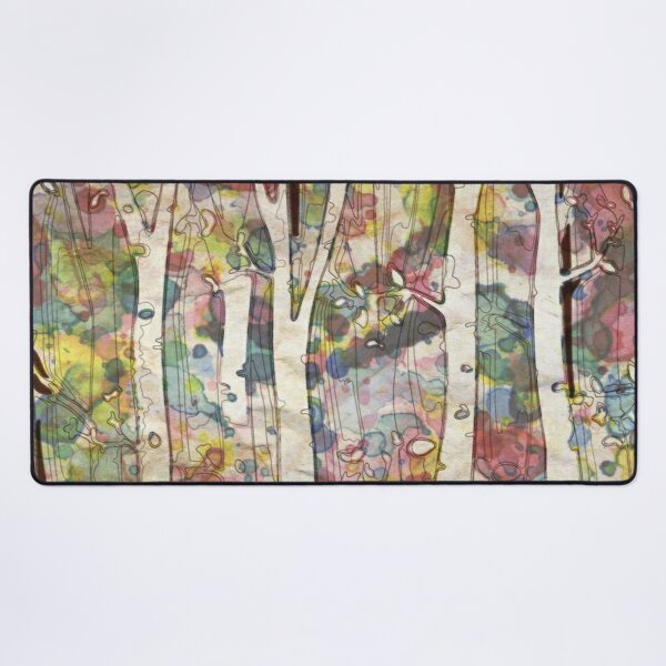 watercolor colorful forest birch trees Desk Mat