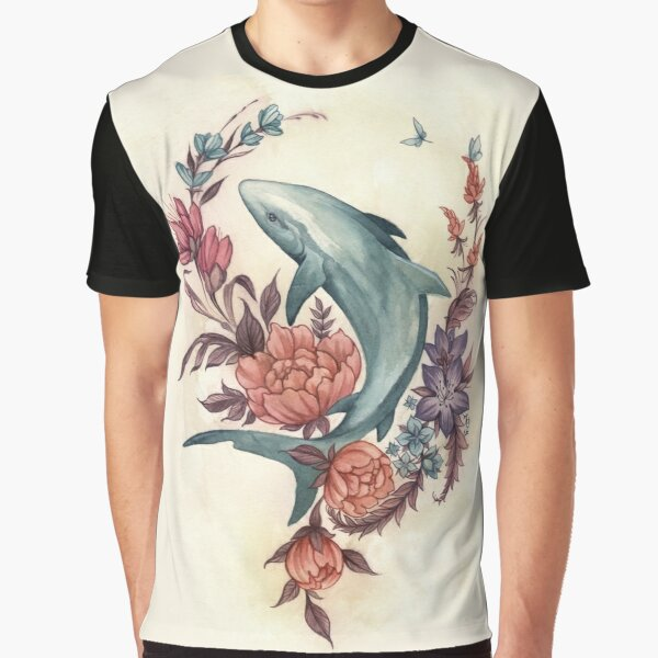 Floral Shark Graphic T-Shirt