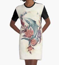 Floral Shark Graphic T-Shirt Dress