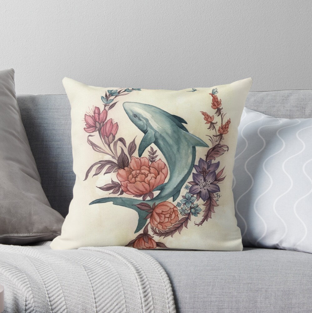 Floral Shark Throw Pillow