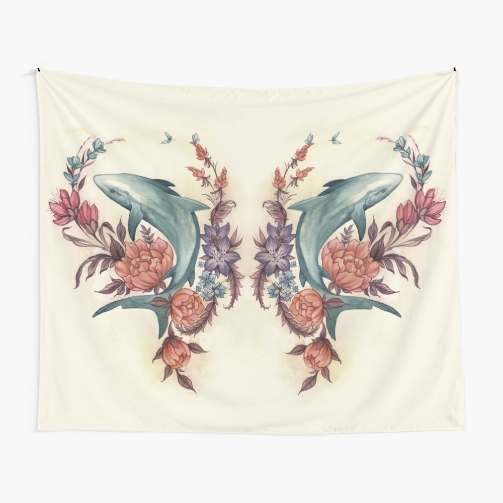 Floral Shark Wall Tapestry
