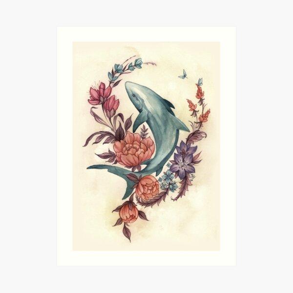 Floral Shark Art Print