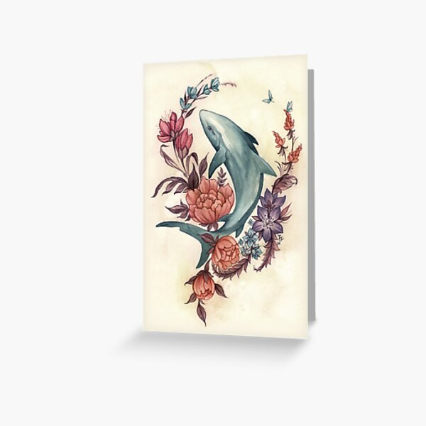 Floral Shark Greeting Card