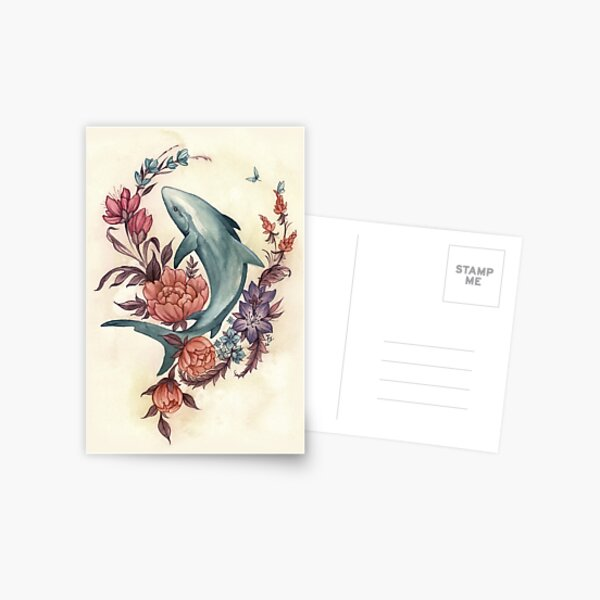 Tiburón floral Postal