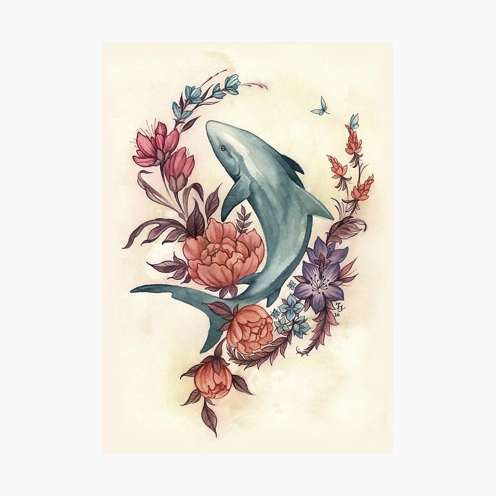 Tiburón floral Lámina fotográfica