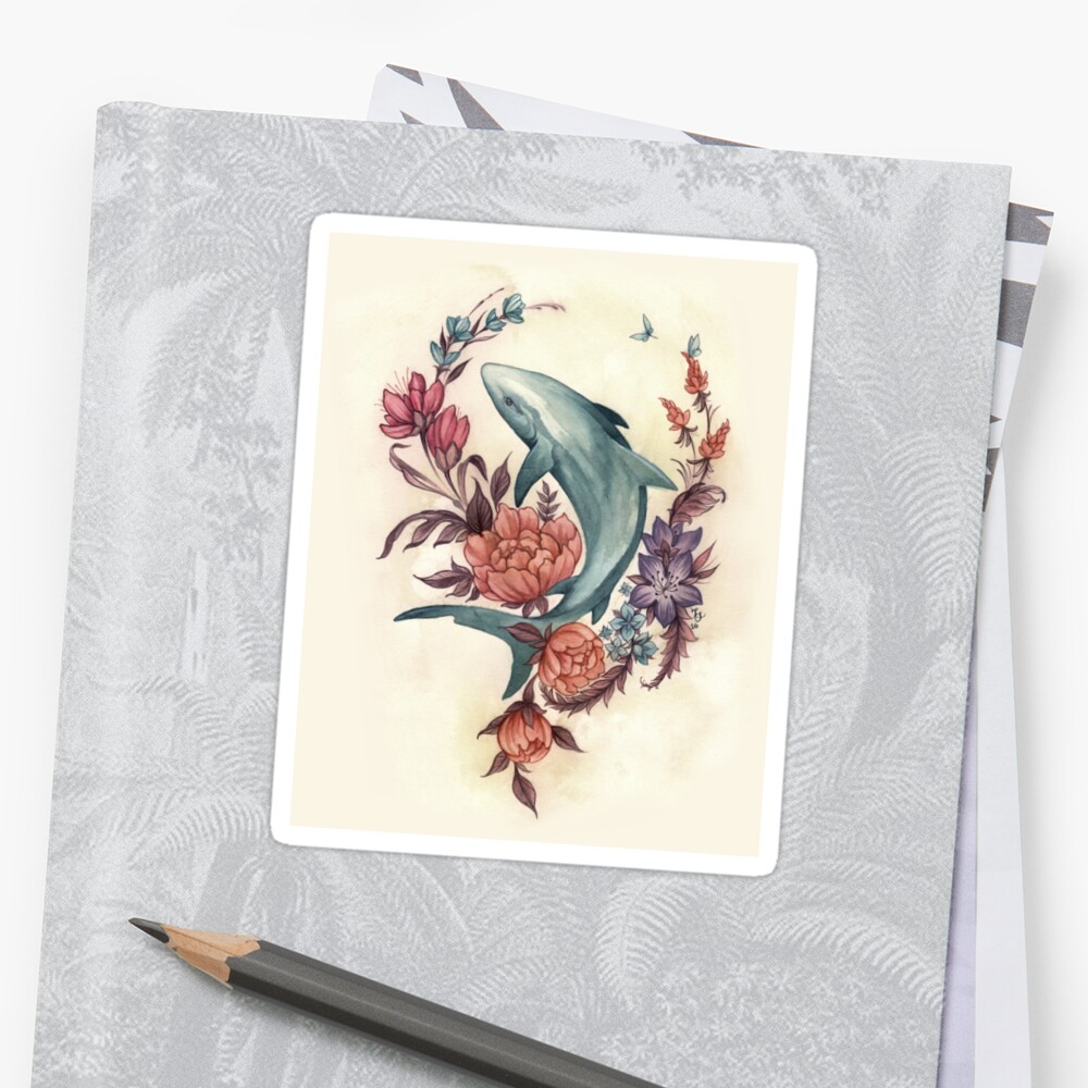 Floral Shark Sticker