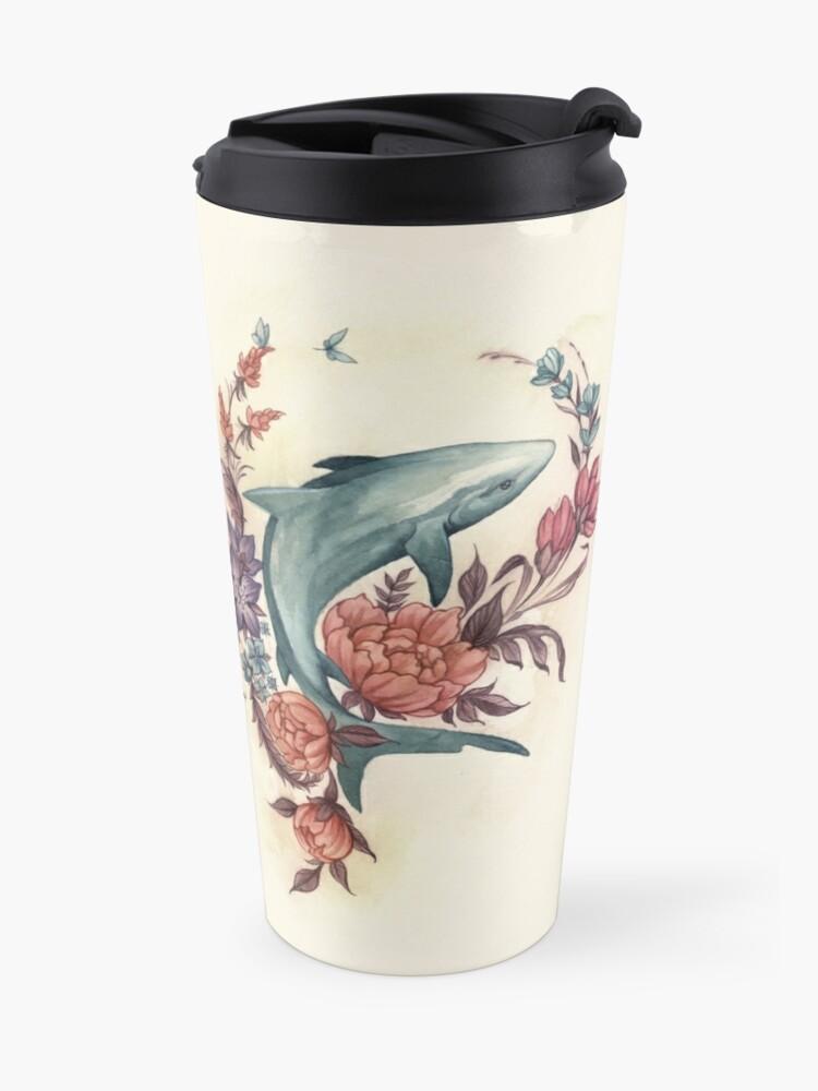 Alternate view of Floral Shark Travel Mug