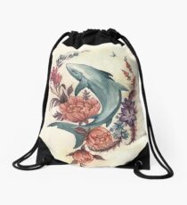 Floral Shark Drawstring Bag
