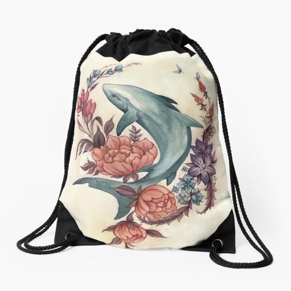 Floral Shark Drawstring Bag