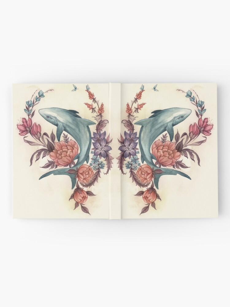 Alternate view of Floral Shark Hardcover Journal
