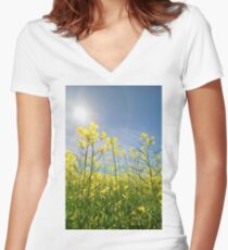 Sun Halo Over The Canola Women's Fitted V-Neck T-Shirt