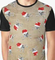 Christmas Holiday Pirate Skulls on Vintage Texture Graphic T-Shirt