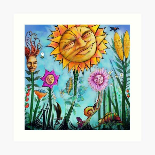 Happy garden plants suntanning. Art Print