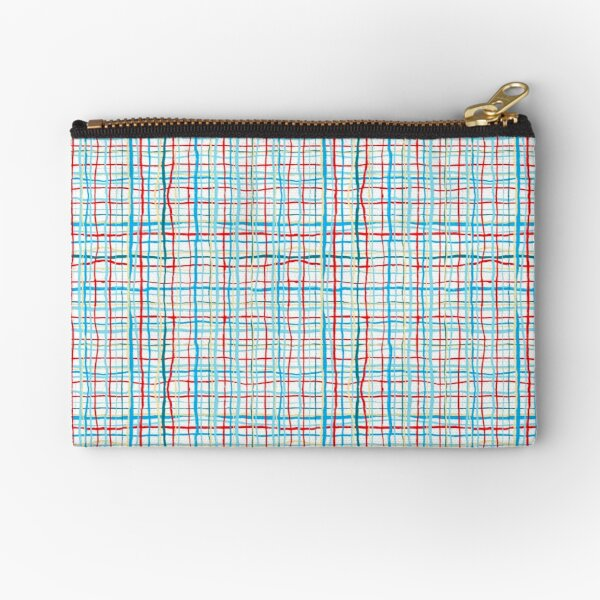 Funky Squiggly Line Plaid Zipper Pouch