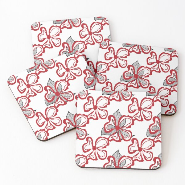 Red White Flower with Black Leaves on White  Coasters (Set of 4)
